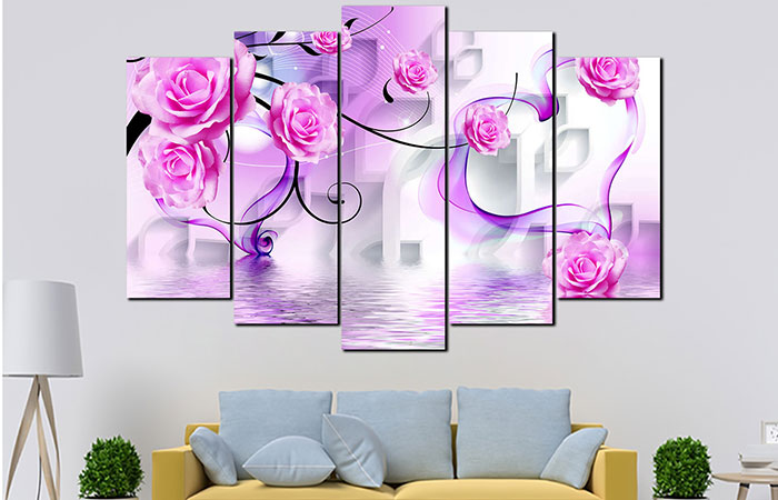 Những bức tranh hoa treo tường nhẹ nhàng sẽ phù hợp với phụ nữ