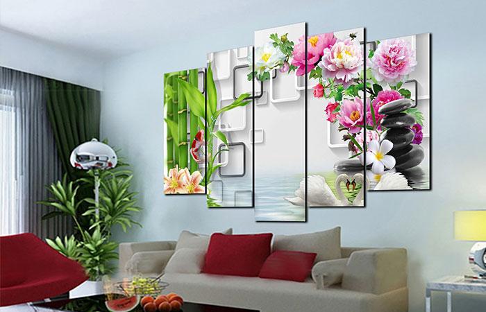 Bộ 5 tranh hoa mẫu đơn treo tường