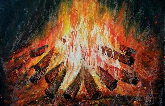 tranh trang trí phòng khách cho mệnh hỏa