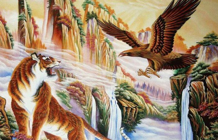 Hổ và đại bàng, 2 bá chủ trên không và dưới mặt đất