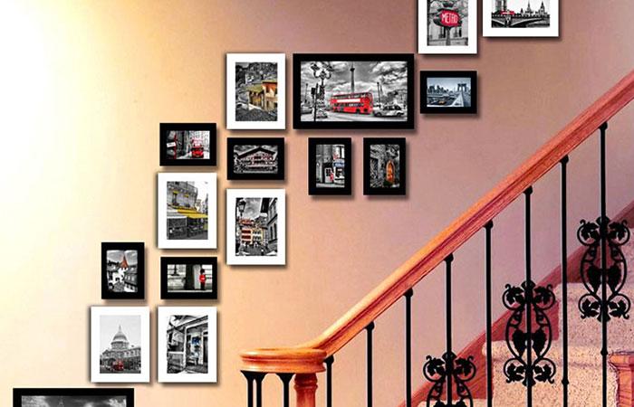 cách treo ảnh đẹp ở cầu thang