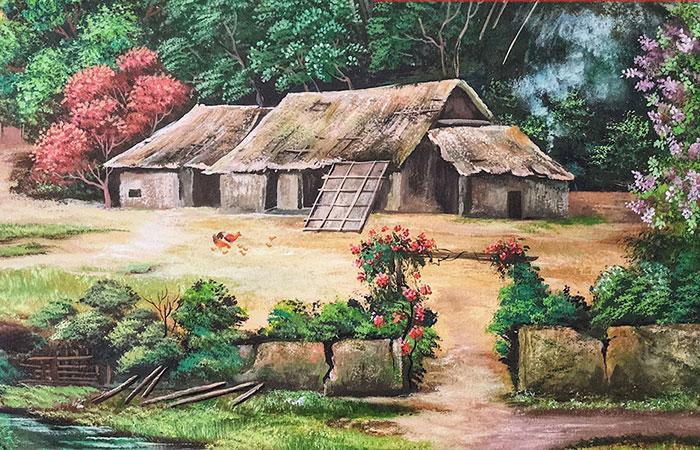 Mẫu tranh làng quê đậm chất Việt Nam