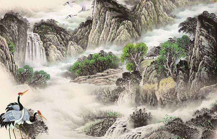Mẫu tranh thủy mặc sông núi