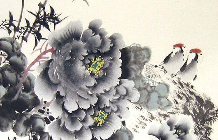 Mẫu tranh treo tường đôi chim đậu trên nhành hoa mận trắng