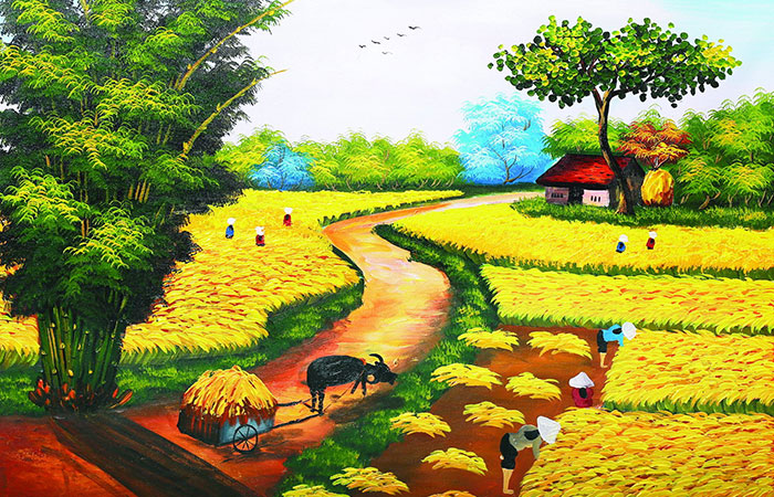 Tranh đồng lúa chín mùa gặt