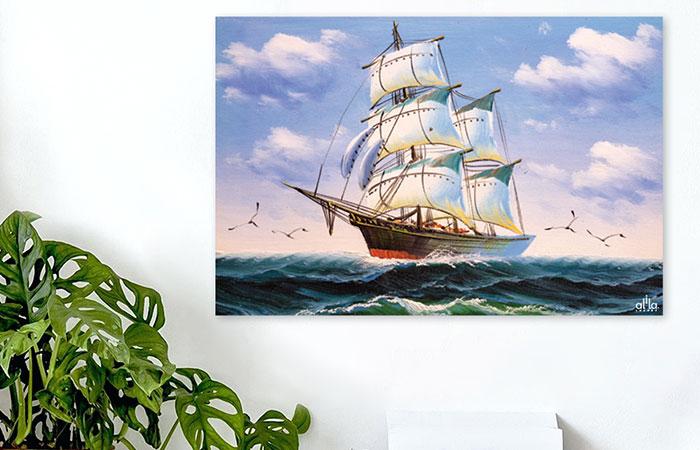 Tranh thuyền buồm xuôi gió - biểu tượng cho sự may mắn và thuận lợi