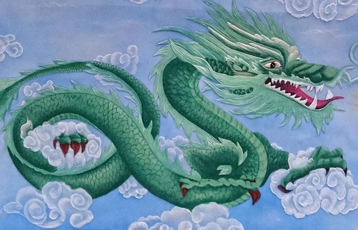 Tranh treo tường đá quý rồng xanh hí thủy