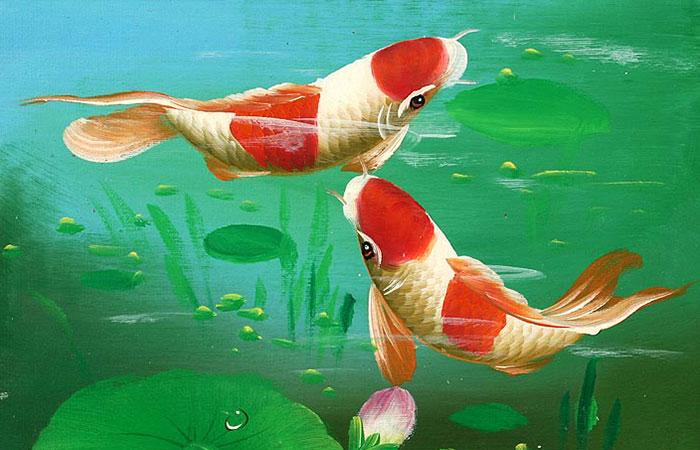 Tranh về cá chép đại diện cho mệnh Thủy